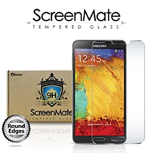 iloome New Samsung Galaxy Note 3 ScreenMate Real Tempered Glass 9H Hardness Premium Screen Protector with Rounded Edges & Oleophobic Coating
