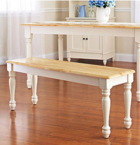 White Dining Room Set with Bench. This Country Style Dining Table and Chairs Set for 6 Is Solid ...