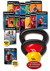 KettleWorx Complete - Total Body Kettlebell Fitness in a Box! 13 DVDs with 2 Kettlebells