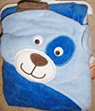 Carter's dog Hooded Baby 100% cotton Bath Towel - blue