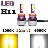 H8 H9 H11 LED Headlight Bulbs Fog Lights Lamps Conversion Kit Dual Color (6000K/3000K) White/Yellow 9000LM - Plug and Play - 1 Pair