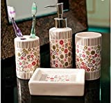 Popular Design European hand-painted Magic Manor ceramic bathroom four-pieces set / pink flowers wash kit / Home Accessories