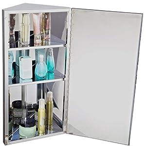Armoire miroir rangement toilette salle de bain meuble mural d 39 angle acie - Meuble d angle pour toilette ...
