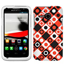 Alcatel OneTouch Evolve Black, Red, White Dots in Squares Phone Case Cover
