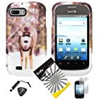 4 items Combo: ITUFFY (TM) LCD Screen Protector Film + Mini Stylus Pen + Case Opener + Design Rubberized Snap on Hard Shell Cover Faceplate Skin Phone Case for ZTE Fury N850, ZTE Director N850L, and ZTE Valet Z665C, Android Smartphone (Reindeer)