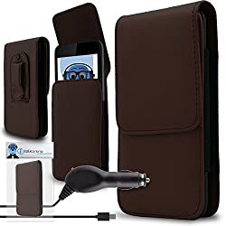 iTALKonline Leagoo Lead 6 Brown PREMIUM PU Leather Vertical Executive Side Pouch Case Cover Holster with Belt Loop Clip and Magnetic Closure and 1000 mAh Coiled In Car Charger LED Indicator and Overload Protection