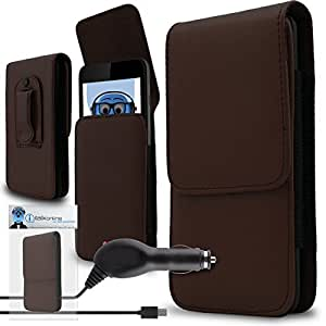 iTALKonline Sony Xperia E4G E2003 E2006 E2053 Brown PREMIUM PU Leather Vertical Executive Side Pouch Case Cover Holster with Belt Loop Clip and Magnetic Closure and 1000 mAh Coiled In Car Charger LED Indicator and Overload Protection