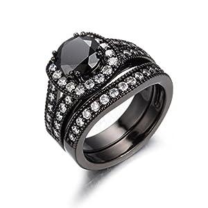 Junxin Jewelry 8MM Round Cut Stones Women Wedding Set Halo Ring Valentine's Gift Size6