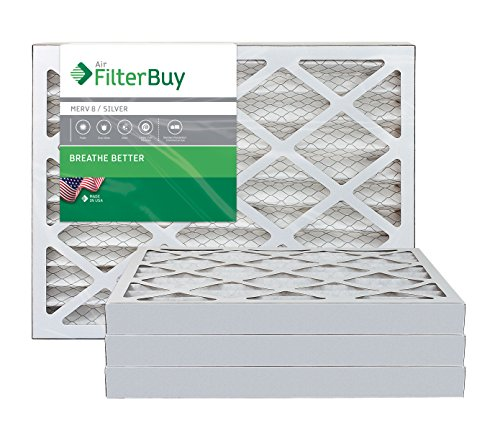 AFB Silver MERV 8 20x24x2 Pleated AC Furnace Air Filter. Pack of 4 Filters. 100% produced in the USA.