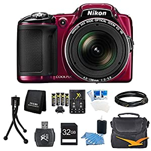 COOLPIX L830 16MP 34x Opt Zoom Digital Camera Red Ultimate Kit Includes camera, SDHC memory card, Gadget Bag, battery, USB Card reader, memory card wallet, mini tripod, Mini-HDMI to HDMI A/V Cable, 3.pc screen protectors and 3pc. cleaning kit