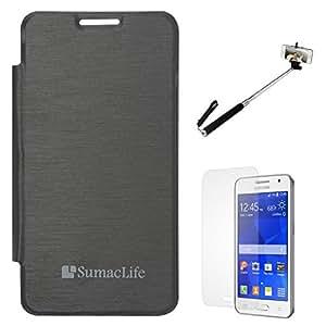SumacLife Premium Flip Cover Case for Samsung Galaxy Core 2 SM-G355H (Black) + Matte Screen + Selfie Stand Stick