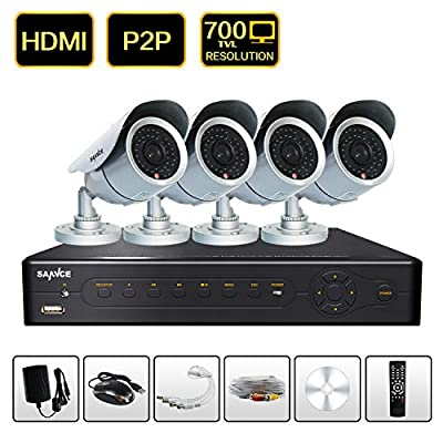 SANNCE® New 8CH HDMI CCTV D1/CIF H.264 Real-time DVR + 4 700TVL Outdoor Weatherproof Security Surveillance Camera System - Mobile Live View (No Hard Drive Included)