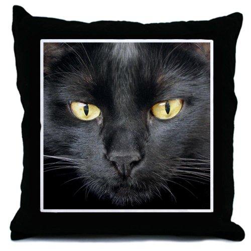 Dangerously Beautiful Black Cat Throw Pillow