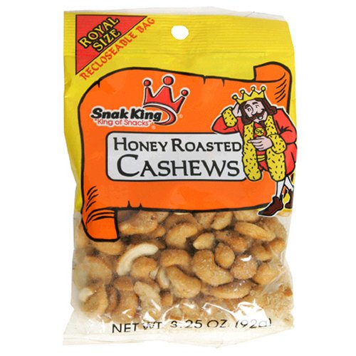 Buy Snak King Cashews, Honey Roasted, 3.25-Ounce Bags (Pack of 24) (Snak King, Health & Personal Care, Products, Food & Snacks, Baking Supplies, Nuts & Seeds)