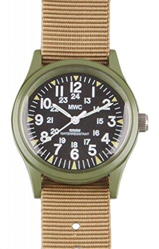 Mwc Olive Drab 1960/70S Vietnam Pattern Military Watch On Khaki Strap / Band