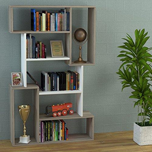 CORGIN Libreria - Bianco / Avola - Scaffale per libri - Scaffale per ufficio / soggiorno dal design moderno