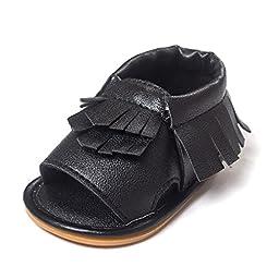 Voberry® Infant Baby Girls Boys bling bling Moccasins Tassels Premium Rubber Sole Anti-Slip Summer Prewalker Toddler Sandals ( 12~18 Month, Black)