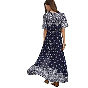 Floerns Women's Bohemian Short Sleeve Vintage Print Split Wrap Maxi Dress