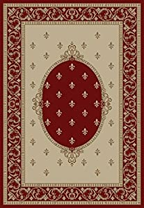Concord Global Rugs Jewel Collection Fleur De Lis Medallion Red