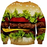 DANJIESHI Mens Casual 3D Hamburger Print O-neck Pullover Sweater Aspic US L