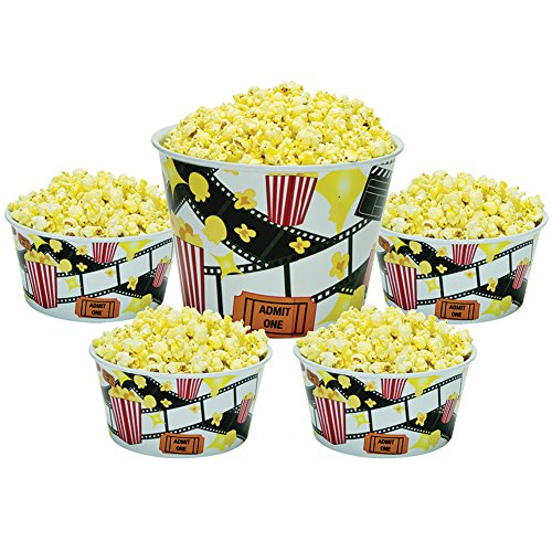 Popcorn Bowl 5-Piece Melamine Serving Set Fun Movie Night Design