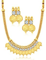 Sukkhi Stylish Laxmi Temple Gold Plated AD Necklace Set For Women
