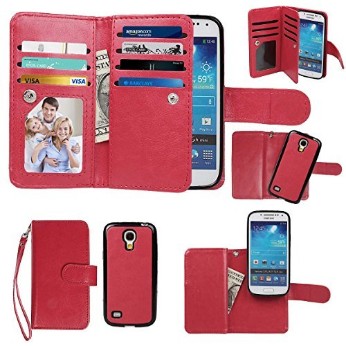 Samsung Galaxy S4 mini Case, xhorizon TM Premium Leather Folio Case [Wallet Function] [Magnetic Detachable] Fashion Wristlet Lanyard Hand Strap Purse Soft Flip Book Style Multiple Card Slots Cash Compartment Pocket with Magnetic Closure Case Cover Skin ZA5 for Samsung Galaxy S4 mini (I9190) - Red (Samsung Spigen Case S4 Mini compare prices)