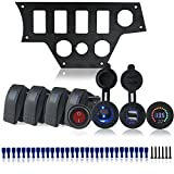 Iztoss Aluminum black Dash Panel plate w/5 on/off rocker Switches and led cigarette charger 4.2A USB and 12V voltmeter For Polaris RZR XP 1000 / RZR XP4 1000 with installation kits