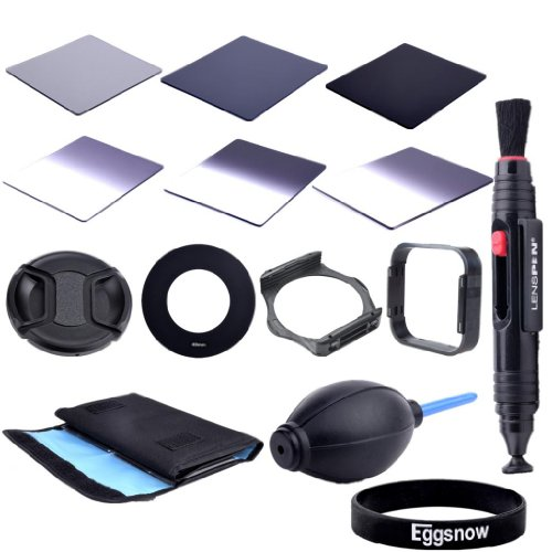 Eggsnow Dslr Camera Accessory Kit - Graduated Nd2 Nd4 Nd8 + Full Nd2 Nd4 Nd8 + 6 Pockect Fliter Bag + 49Mm Center Pinch Lens Cap + Air Blower Cleaner Blaster + 49Mm Adapter Ring + Lens Hood + Filter Holder + Lens Clearing Pen (49Mm)