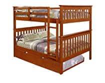 Hot Sale Bunk Bed Full over Full with Trundle in Espresso