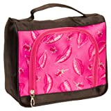 Pink Satin Feel Travel Cosmetic Make Up Case Bag W/ Pink Lips & Floral Roses