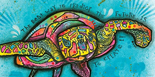 Dean Russo Turtle Create Future Quote Modern Animal Decorative Art Poster Print 12x24