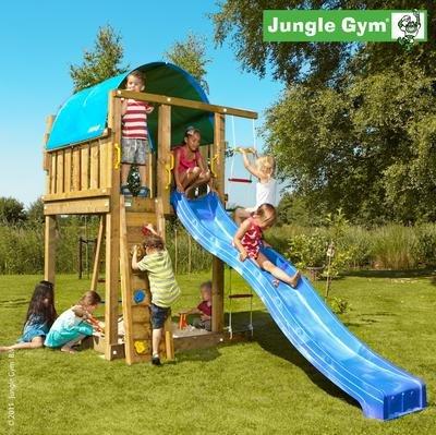 Jungle Gym Spielturm VILLA mit Rutsche – Blau jetzt bestellen