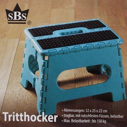 SBS-Tritthocker-32-x-25-x-22-cm-bis-150-kg-tragbar-rutschfest-platzsparend-Tritt-Steigleiter-Trkis