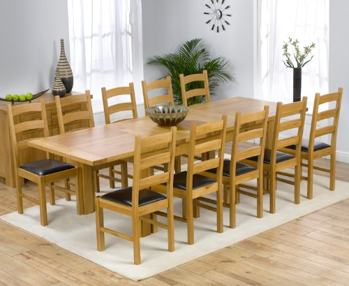 Solid Oak Extending 180cm-270cm Dining Table & 8 Brown Chairs (NORMANDY/VERMONT)