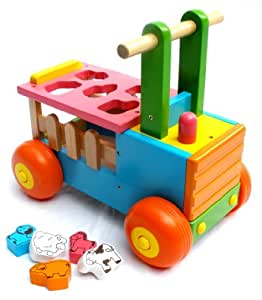 Wooden Animal Farm Cart Ride On Toy With Shape Sorter For Toddlers & Chiildren