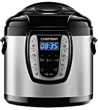 Chefman Electric Pressure Cooker 9-in-1 Programmable Multicooker, Prepare Dishes in an Instant, Aluminum Pot Multifunctional Slow Cooker, Rice Cooker/Steamer, Sauté, Yogurt, Soup Maker - 6 Qt