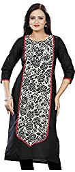 Twinkal Women's Pure Cotton with Raschel Net Straight Fit Kurti / Kurta (Twkr00116, Black, M)