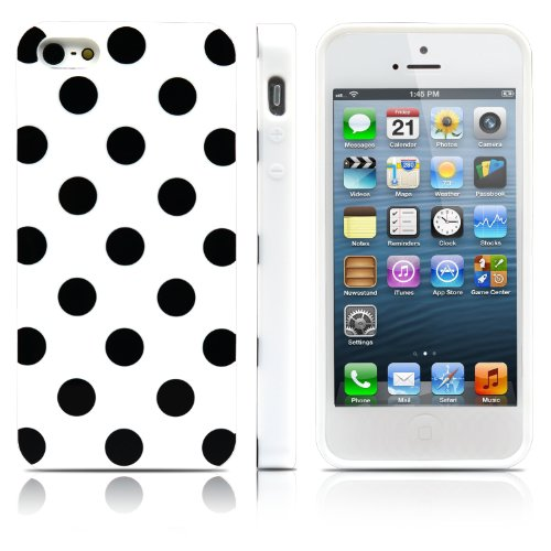 iPhone 5S Case, MagicMobile® Ultra Slim Thin Durable Fashion Cute Glossy Cover for iPhone 5 TPU Polka Dot Pattern iPhone 5S Case [Dual Color: White - Black] (Lifeproof Ipod 5 Case Inserts compare prices)