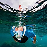 Evolventure Full Face Snorkel Mask for with GoPro Mount Youth and Adults - BLUE L/XL