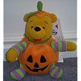 "Unique Disney Halloween Winnie The Pooh Jack-o-lantern Pumpkin 6"" Plush Bean Bag Doll"