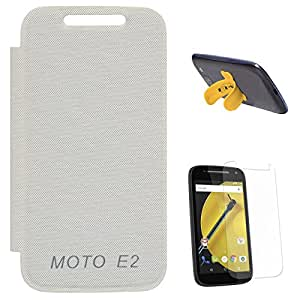 DMG Flip Cover Case for Motorola Moto E2 IInd Gen 2015 Edition XT1505 (White) + Touch U Silicone Stand + Matte Screen