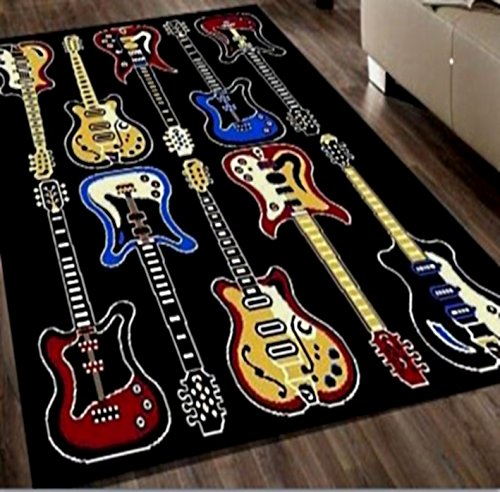 Electric Guitars Area Rug 5 X 7
