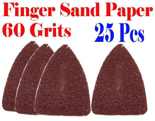 Pack 25 Sandpaper 60 Grits Sand Paper Finger Detail W/ Velcro Oscillating Multi Tool Saw Blades For Fein Multimaster Bosch Multi-X Craftsman Nextec Dremel Multi-Max Ridgid Dremel Chicago