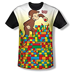 Curious George Building Blocks All Over Print Black Back T-Shirt