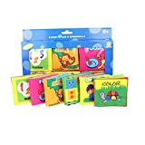 Babys First Non-Toxic Fabric Book Soft Cloth Book Set- Squeak, Rattle, Crinkle,Colorful- Pack of 6