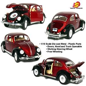 """Amazon.com: 8¾"""" 1967 Volkswagen Classic Beetle 1:18 Scale (Maroon"""