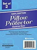 "100% Cotton - Pillow Protector - Zippered Style - Set of 2 - 200 Thread Count - Standard Size (20x26"")"