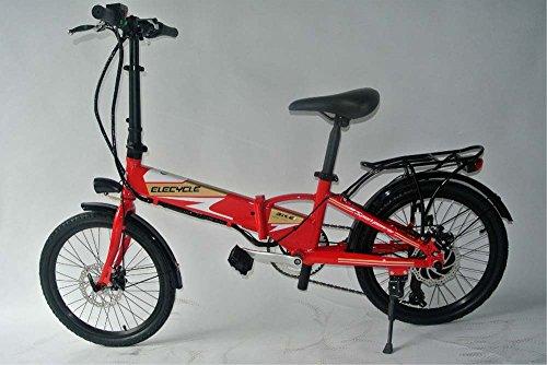 elecycle 50,8cm Mini Folding Bike mit Shimano 21Geschwindigkeiten wiederaufladbar Elektro-Fahrrad in Rot mit USB-Anschluss
