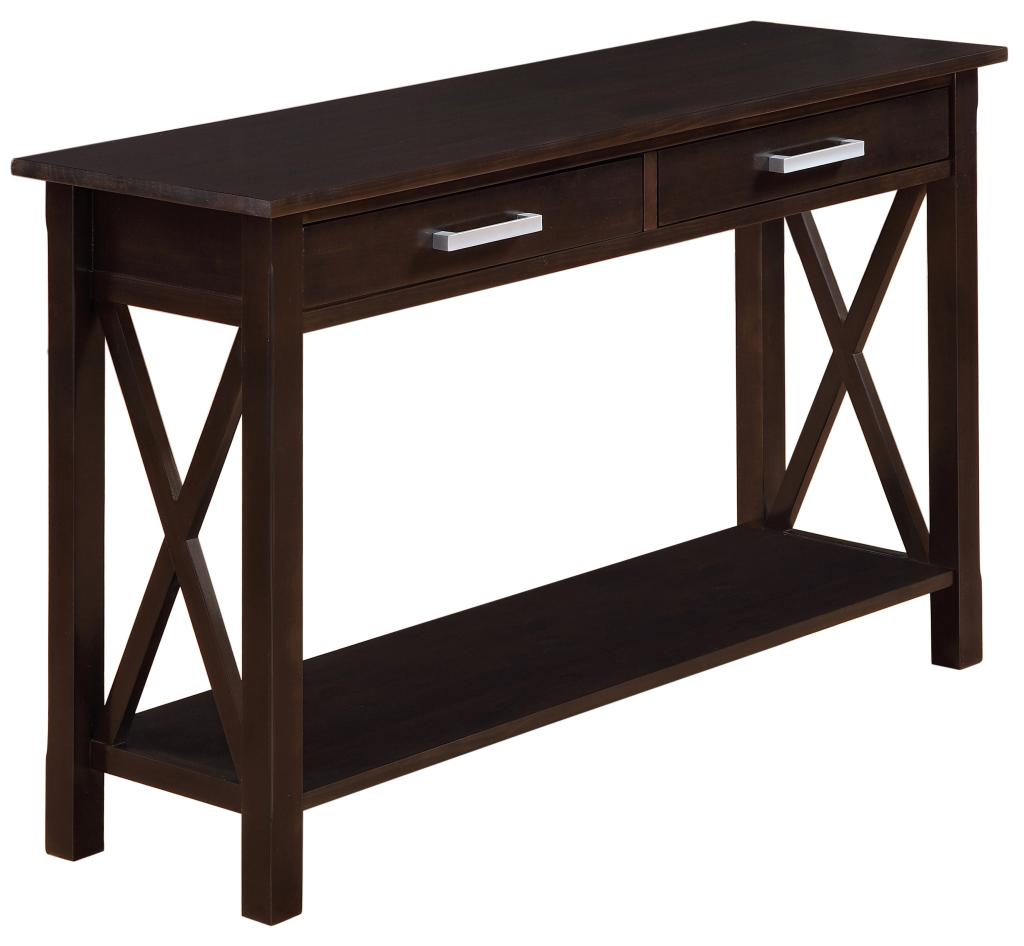 Simpli home kitchener console table dark for Long sofa table 60